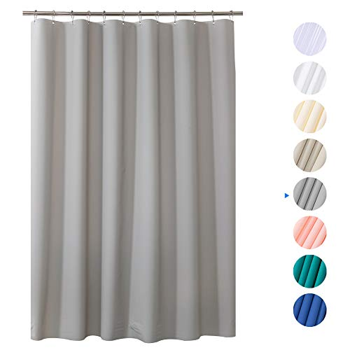 AmazerBath Plastic Shower Curtain, 72 W x 84 H EVA 8G Thick Bathroom Plastic Shower Curtains No Chemical Odor with Heavy Duty Clear Stones and Rust-Resistant Grommet Holes-Grey