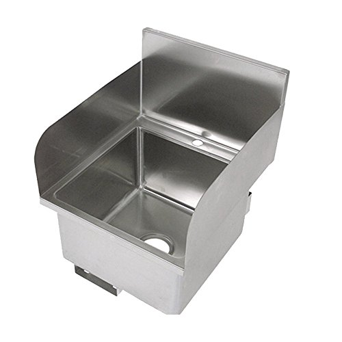 John Boos PBHS-W-1616-SSLR Stainless Steel Hand Sink, Faucet Not Included Left Hand and Right Hand Side Splash, 16 Length x 16 Width x 10 Depth