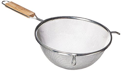 Tablecraft 88 8-Inch Single Mesh Strainer, Medium, 1, Tinned/wood handles ()
