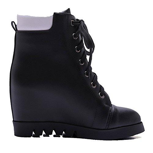 Allhqfashion Dames Lage Top Assorti Kleur Veter Ronde Gesloten Neus Hoge Hakken Laarzen Zwart