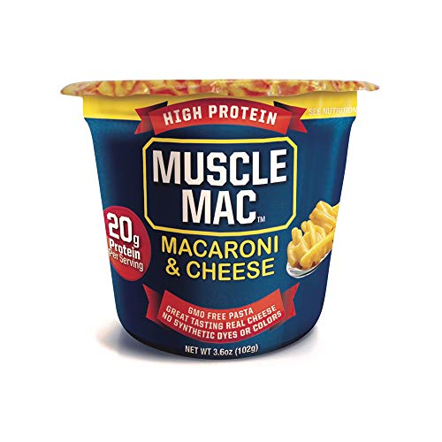 Muscle Mac | Macaroni and Cheese Microwavable Mega Cups, 20 Grams Of Protein Per Serving, Real Cheese, Non-GMO, (12 Cups)