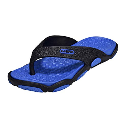 KESEELY Summer Men's Open Toe Slippers Fashion Beach Shoes Massage Bathroom Round Head Flip Flops Beach Casual Slippers Blue by KESEELY (Image #8)