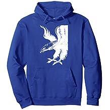 Unisex American Eagle Black White American Patriot Hoodie Large Royal Blue