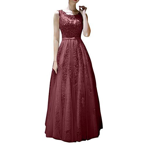 Abendkleider Linie Damen Spitze La Marie Hundkragen Kleider Promkleider A Burgundy Silber Bodenlang Braut Abiballkleider PPXvg