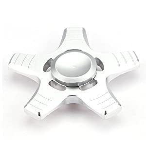 Fidget Spinner High Speed Stainless Steel Finger Spinner Bearing Hand spinners fidget Toy for Adults Kids for Relieving Stress Anxiety ADHD Focus Boredom (5 Leaves Silver)