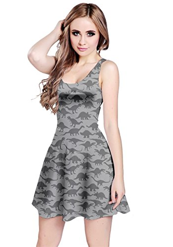 Halloween Cat Silhouette Pattern (CowCow Gray A Pattern with Dinosaur Silhouettes Sleeveless Dress,)