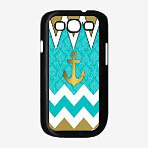 linJUN FENGMint and Gold Chevron With Anchors Plastic Phone Case Back Cover Samsung Galaxy S3 I9300
