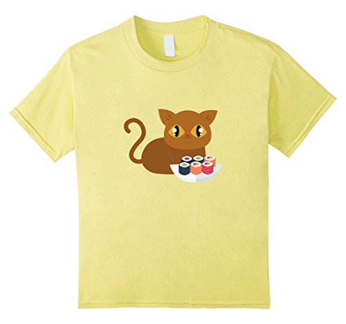 Kids Anime Sushi Cat Cute Funny T Shirt For Cat and Sushi Lovers 4 Lemon