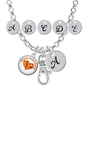 Domed Candy Corn Cutie Custom Initial Badge Clip Necklace