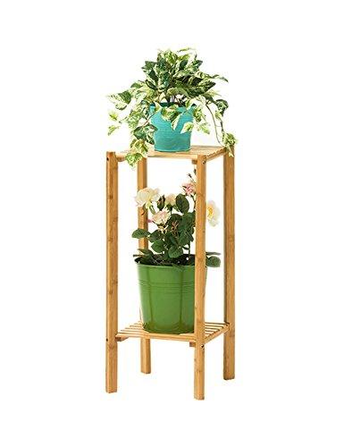 StudioFun Bamboo Flower Rack Multilayer Flowerpot Display Rack Flower Shelf, Light Brown (Color : Wood 2 tier) by StudioFun