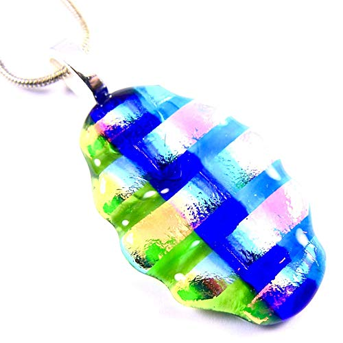 (Pendant Dichroic Glass Rainbow Tie Dye Stained Glass Abstract Football Oval - 1.5