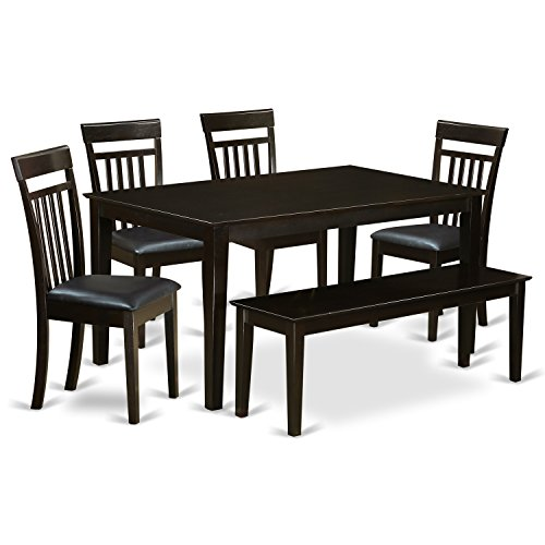 East West Furniture CAP6S-CAP-LC 6 PC Dining Room Set-Top Kitchen Table and 4 Kitchen Chairs Plus 1 Dining Bench
