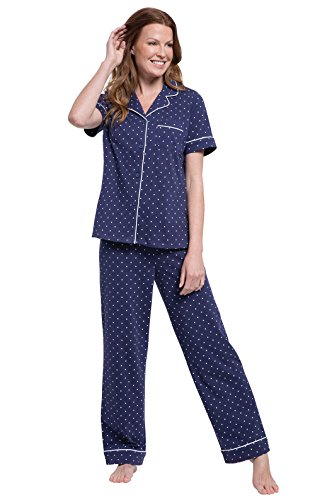 PajamaGram 100 Cotton Pajamas Women - Polka Dot PJ for Women Set, Navy, M, 10-12