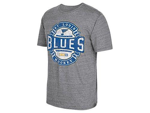 St. Louis Blues CCM Grey Badge Inspired Distressed Tri Blend Shirt - T-shirts Hockey Ccm