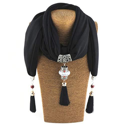 Retro Charm Scarf Rhinestone Tassels Jewelry Scarves Beads Diamond Necklace Collar Shawl 4 One Size by Chic-Dona