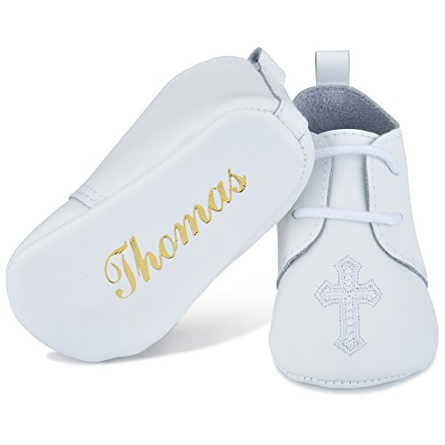Personalized Leather Christening Baptism Shoe White