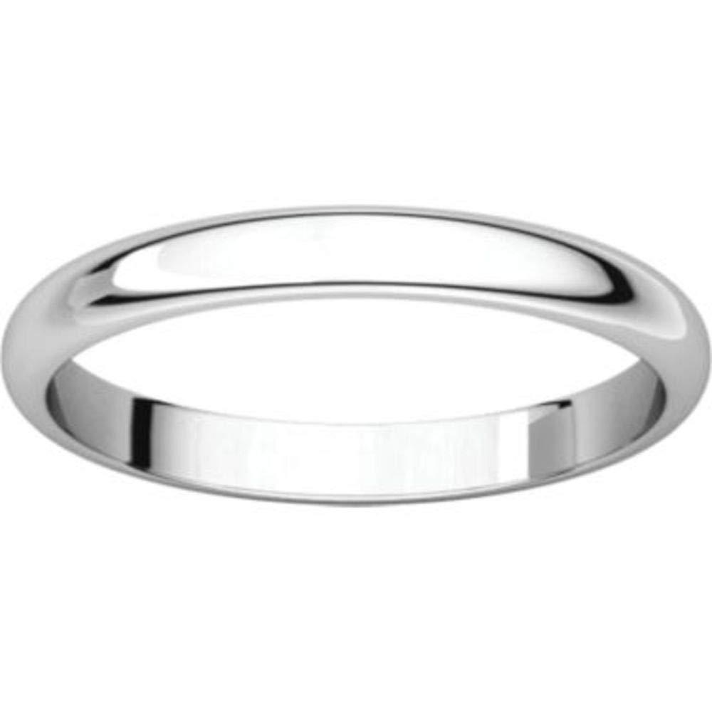 Bonyak Jewelry 10k White Gold 2.5 mm Half Round Band Size 14