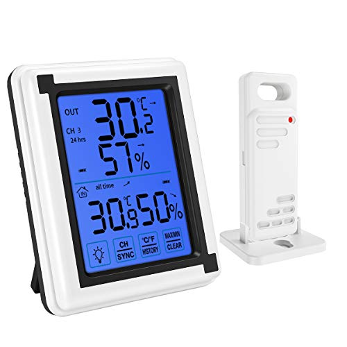 KeeKit [2019 New] Indoor Outdoor Thermometer, Wireless Temperature Humidity Monitor, Digital Hygrometer Gauge Meter with Touch LCD Backlight, MAX/MIN Record for Home, Office, Baby Room