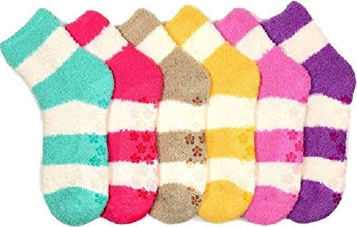 I&S 6 Pairs Women's Cozy Slipper Socks Fuzzy Sock Multi Color (9-11, Stripe White)
