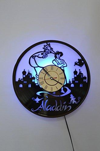 Blue Genie Art - Aladdin and Genie Disney Cartoon original design Night Light, Wall Lights, Wall Lamp, ALF original design Wall Clock, Cool Rest Room Wall Art Decor (Blue)