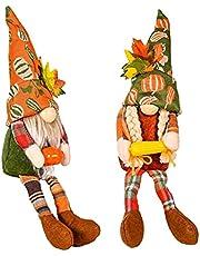NIDONE Heminredning och Thanksgiving Plush Gnome Faceless Dwarf Doll Höst Skörde dekoration med majspumpa 2st