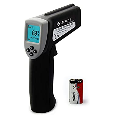 Etekcity Lasergrip 630 Dual Laser Infrared Thermometer Non-contact Instant Digital -58℉~1076℉ (-50℃ to 580℃) with Adjustable Emissivity & MAX/MIN/AVG Display, Gray and Black