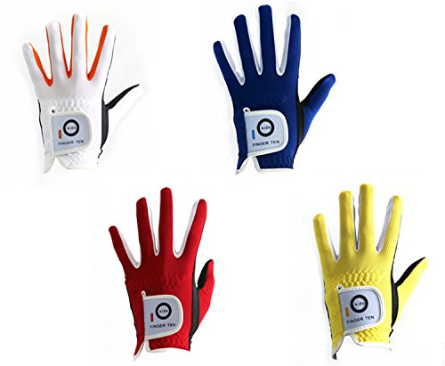 Finger Ten Junior kids Dura Feel White Blue Red Yellow Golf Gloves (X-Large Red, left)