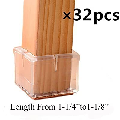 "32 Pack Square Chair Leg Caps Veoley /Durable Chair Leg Pads/Wood Floor Protector/Furniture Table Leg Caps/Silicone Table Furniture Leg Feet Tips Covers Caps/Fit length 1-1/4""to 1-1/8"""