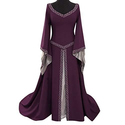 EuoneDress Clearance Sales, Women's Long Sleeve V-Neck Medieval Dress Floor Length Cosplay Dress