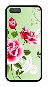 Abstract Red Roses TPU Silicone Case Cover for iPhone 6 4.7 Black