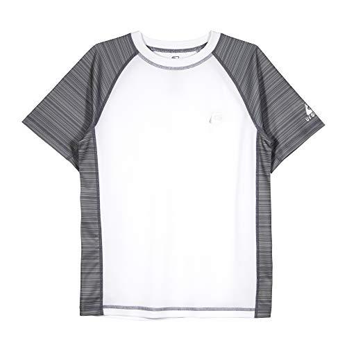 LAGUNA Boys Striped Raglan Crewneck Short Sleeve Loose Fit Rashguard Swim Sun Tee Shirt, UPF 50+, White/Grey Stripe, 18/20