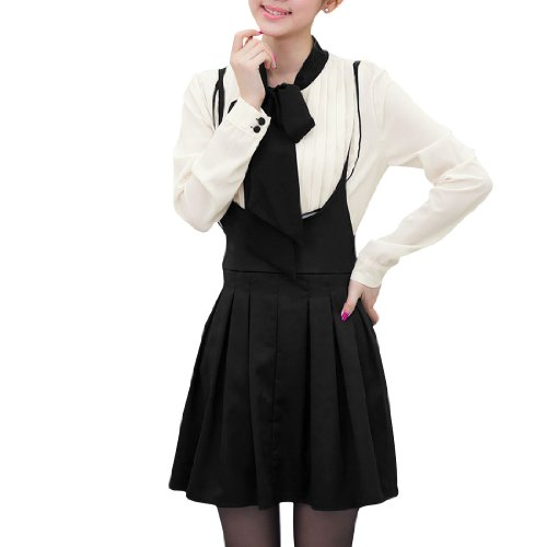 Woman Tiw-Bow Neck Button Down Shirt w Suspender Mini Skirt Set