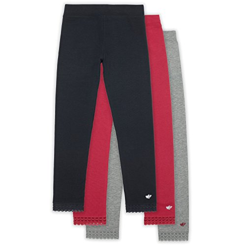 Lucky & Me Jada Athletic Leggings for Girls, 3 Pack, Tagless, Lace Trim, Full Length, Black/Grey/Red, 6