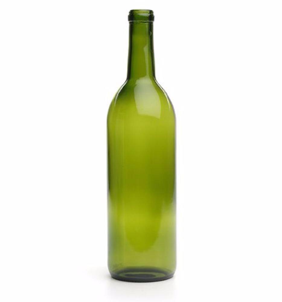 750 Ml Green Wine Bottles, Cork Finish E.C. Kraus
