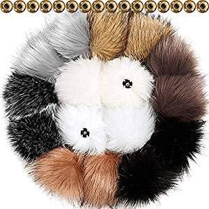 À faire soi-même en Fourrure Synthétique Pompons Boule avec presse bouton amovible Fourrure Pompon Pour knittin