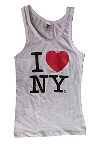 I Love NY Ribbed Tank Top Ladies Heart Logo (Small, White) ()