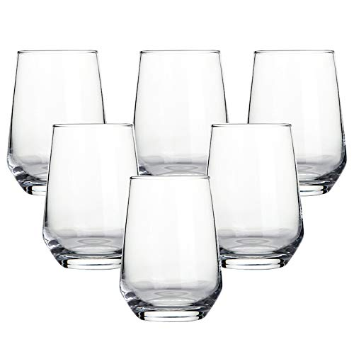 Ecentaur Water Glasses Set of 6 Highball Drink Glasses Juice Glasses Base Glassware for Wine Beer Whiskey Cocktails…