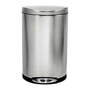 simplehuman Semi-Round Step Trash Can, Stainless Steel, 40 L / 10.5 Gal
