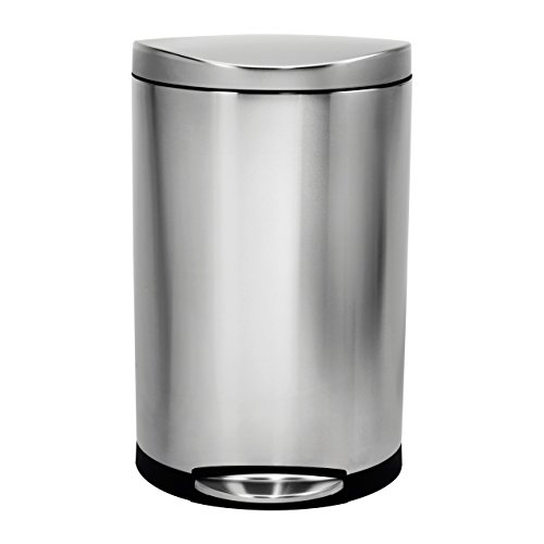 simplehuman Semi-Round Step Trash Can, Stainless Steel, 30 L / 7.9 Gal