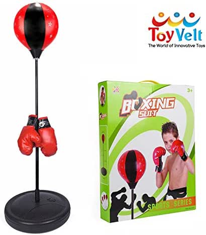 ToyVelt Punching Bag For Kids Boxing Set Includes Kids Boxing Gloves And punching bag, Standing Base With Adjustable Stand + Hand Pump - Top Gifting Idea For Boys and Girls Ages 3 - 14 Years Old