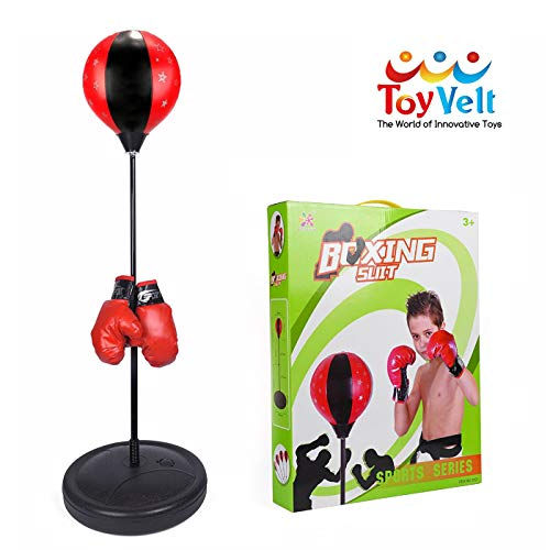 - ToyVelt Punching Bag for Kids - Boxing Set Incl Gloves, Punching Bag with Stand and a Pump - Height Adjustable Base, Easy Setup & Portable Design Idea for Boys and Girls Ages 3 -14 Yrs Old