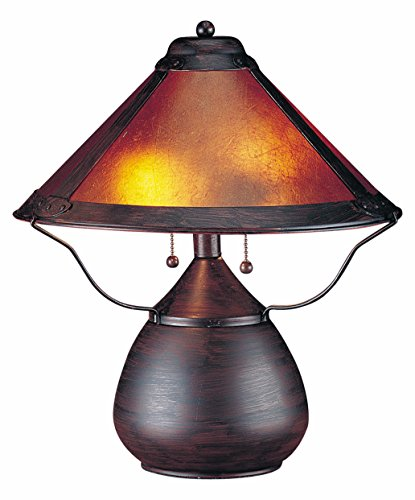 Rust 80 Watt 17in. Craftsman/Mission Table Lamp with On/Off Switch and Round Mica ()