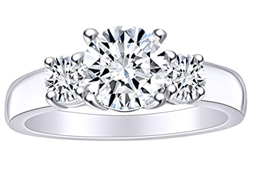 1.35 Carat (Cttw) Round White Natural Diamond Three Stone Solitaire Engagement Ring in 14k Solid White Gold Ring Size-8.5