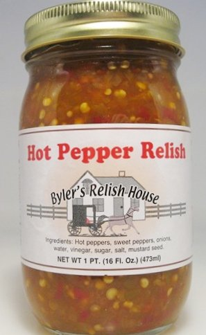 Byler's Relish House Homemade Amish Country Hot Pepper Relish 16 oz. - Hot Pepper Relish