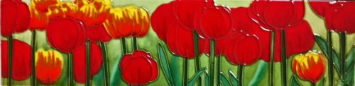 Continental Art Center MD-021 4 by 16-Inch Horizontal Tulips Ceramic Art - Tiles Ceramic Painted 16 Hand