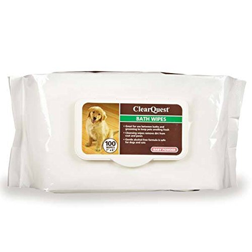 Pet Bath Wipes 100 Ct Pack Dog & Cat Grooming Scented Bathing Clean Fresh Wipe (Baby Powder)