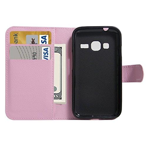 Fashion & personality Para Samsung Galaxy J1 Mini Primer 2016 / SM-J106 Lichí Textura horizontal Flip caja de cuero con el titular y ranuras para tarjetas y cartera ( Color : Brown ) Pink