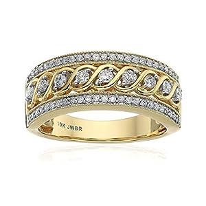 Jewelili 10kt Yellow Gold Anniversary Ring (1/2 cttw)
