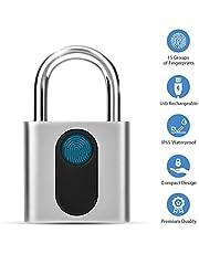 Candado con huella dactilar inteligente, Cerradura electrónica de puerta Reconocimiento de huella dactilar Cerradura antirrobo de seguridad a prueba de agua con llave inteligente