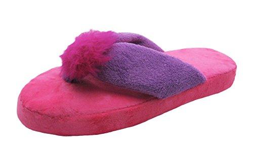 Fashion Blue Two-Tone Soft & Plushy Womens Terry Cloth House Slippers w/Heather Jersey & Pom Poms Purple/Fuchsia
